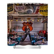 Elvis Presley At Albuquerque's 66 Diner Shower Curtain