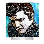 Elvis Presley Never Left The Building Alcohol Inks Shower Curtain