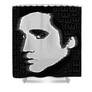 Elvis Presley Silhouette On Black Shower Curtain