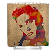 Elvis Presley Watercolor Portrait On Worn Distressed Canvas Shower Curtain