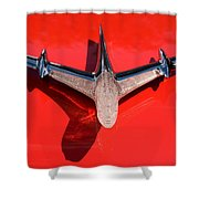 Emblem On Red Shower Curtain