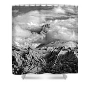Embraced By Clouds Black And White Shower Curtain
