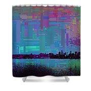 Emerald City Skyline Cubed Shower Curtain