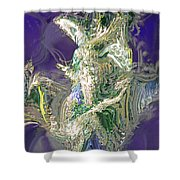 Emerald Elemental Shower Curtain