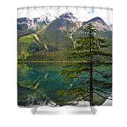 Emerald Lake Reflection And Pine Tree In Yoho National Park-british Columbia-canada Shower Curtain