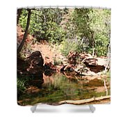 Emerald Pool Reflection Shower Curtain
