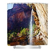 Emerald Pools Trail Waterfall - Zion Shower Curtain