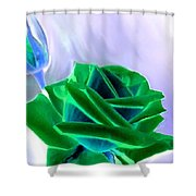 Emerald Rose Watercolor Shower Curtain
