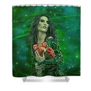Emerald Universe Shower Curtain