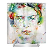 Emily Dickinson - Watercolor Portrait Shower Curtain