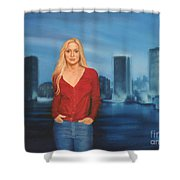 Emily  Miami Skyline Shower Curtain