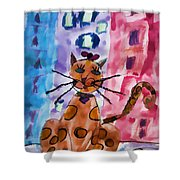 Emma's Spotted Kitty Shower Curtain