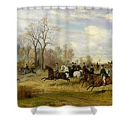 Emperor Franz Joseph I Of Austria Hunting To Hounds With The Countess Larisch In Silesia Shower Curtain