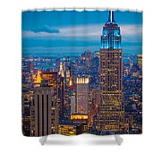 Empire State Blue Night Shower Curtain