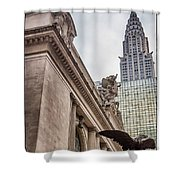 Empire State Building And Grand Central Station Dramatic Shower Curtain by For Ninety One Days