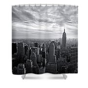Empire State Building And Midtown Manhattan Black And White Shower Curtain