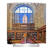 Empire State Building At The New York Public Library Shower Curtain