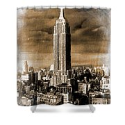 Empire State Building Blimp Docking Sepia Shower Curtain