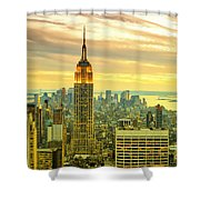 Empire State Building In The Evening Shower Curtain by Sabine Jacobs