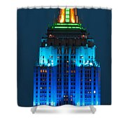 Empire State Building Lit Up At Night Shower Curtain