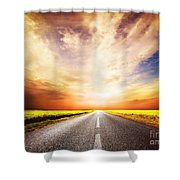 Empty Asphalt Road. Sunset Sky Shower Curtain