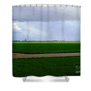 Empty Green Shower Curtain