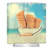 Empty Ice Cream Cones Shower Curtain