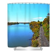 Empty Train Tracks Of Rockford On The Rock River With Fall Colors Shower Curtain