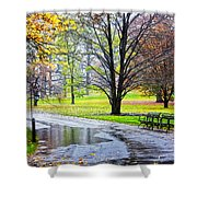 Empty Walkway On A Beautiful Rainy Autumn Day Shower Curtain