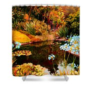 Enchaned Blue Lily Pond Shower Curtain