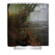 Enchanted River In The Mist Shower Curtain