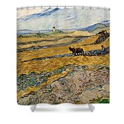 Enclosed Field With Plowman  Shower Curtain