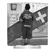 End Of The Day - Black And White Shower Curtain