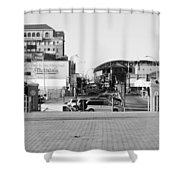 End Of The Line In Black And White Shower Curtain