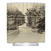 End Of The Road Merged Image Shower Curtain