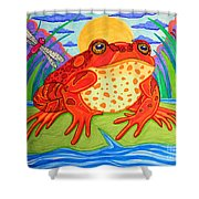 Endangered Red Legged Frog Shower Curtain by Nick Gustafson