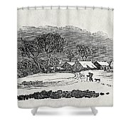 Endpiece, Late 18th Or Early 19th Century Wood Engraving 99;landscape; Winter; Figure; Snow; Snowy; Shower Curtain