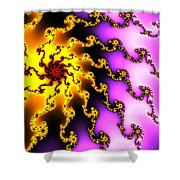 Energy - Yellow Purple And Red Digital Fractal Artwork Shower Curtain