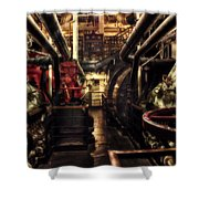 Engine Room Queen Mary 02 Sepia Shower Curtain