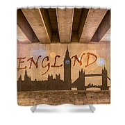England Graffiti Landmarks Shower Curtain