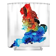 England - Map Of England By Sharon Cummings Shower Curtain