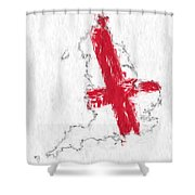 England Painted Flag Map Shower Curtain