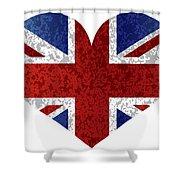 England Union Jack Flag Heart Textured Shower Curtain