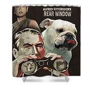 English Bulldog Art Canvas Print - Rear Window Movie Poster Shower Curtain