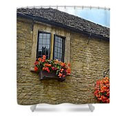 English Cottage Flower Box Shower Curtain