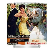 English Setter Art Canvas Print - Come September Movie Poster Shower Curtain