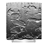 Engraved Snowman Playing The Piano Shower Curtain