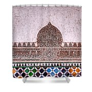 Engraved Writing And Colored Tiles No1 Shower Curtain