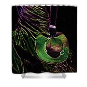 Enigma Emerald. Black Art Shower Curtain by Jenny Rainbow