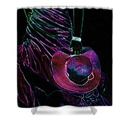 Enigma Purple. Black Art Shower Curtain by Jenny Rainbow